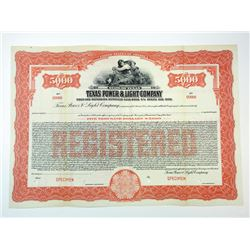 Texas Power & Light Co., ca.1930-1940 Specimen Bond