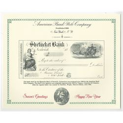 ABNC Bank Draft for the Shetucket Bank of Norwich Connecticut with Santa Claus Vignette ca.1860 Seas