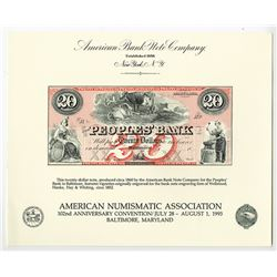 ABNC Souvenir Cards, All are $20 Peoples' Bank of Baltimore, Obsolete Reprints of ca.1860s Banknote,