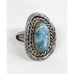 Vintage Navajo Sterling Turquoise Ring, Size 5
