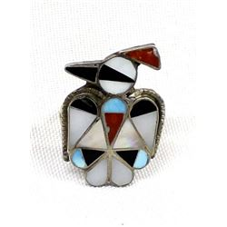 Zuni Sterling Inlay Thunderbird Ring, Size 6.75