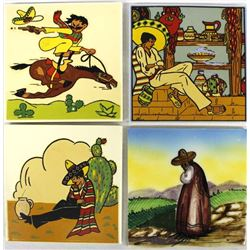 4 Mexican Pictorial Tiles