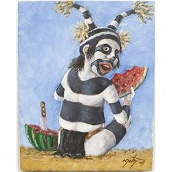 Original Hopi Koshare Clown Painting by Neil David