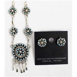 Zuni Silver, Turquoise Necklace & Earrings