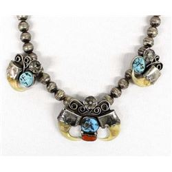 Navajo Sterling Hollow Bead & Turquoise Necklace