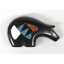 Native American Zuni Carved Jet Inlay Bear Fetish