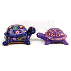 2 Mexican Pottery Lidded Turtle Boxes