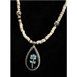 Zuni Silver Pendant Shell Heishi Necklace by Lasi