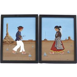 Pair of Original Navajo Acrylic Paintings, J. Claw