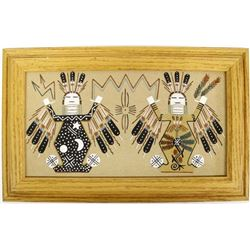 Framed Navajo Sand Painting by Herman Tom