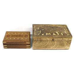 2 Ethnic Hand Crafted Wood Boxes
