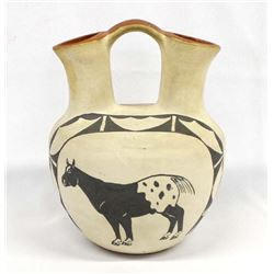 Isleta Pueblo Painted Ceramic Wedding Vase, Sangre
