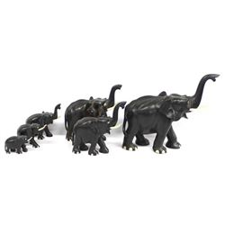 Vintage Herd of 8 Ebony Elephants