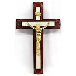 Devotional Wooden Brass Cristo on Cross