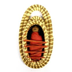 Tohono O'odham Basketry Cradle Board with Doll