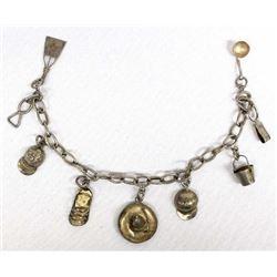 Vintage Mexican Sterling Silver Charm Bracelet