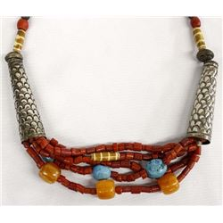 African Amber Turquoise Trade Bead Necklace
