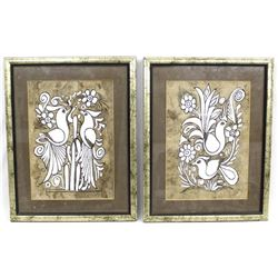 2 Framed Mexican Hand Painted Bark Pictures