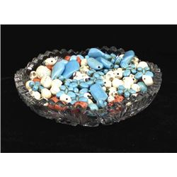 Collection of Loose Beads in Crystal Bowl
