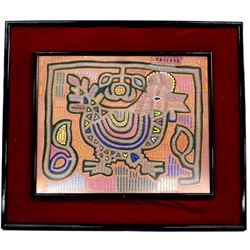 Framed South American Kuna Indian Chicken Mola