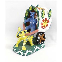 Mexican Pottery Devil in a Cart Folk Art