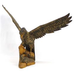 Beautifully Carved Wood Folk Art Eagle