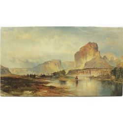Cliffs of Green River by Thomas Moran Collagraph