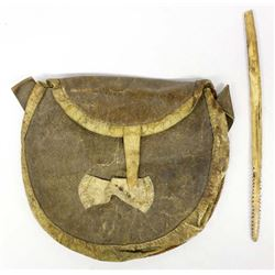 Vintage Canadian Inuit Hide Pouch w/ Wood Tool