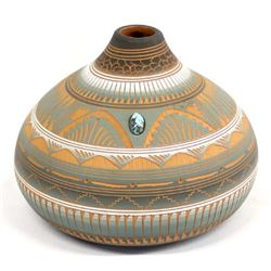 Navajo Carved Pottery Jar by Michael Charlie