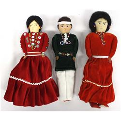 3 Native American Navajo Cloth Dolls