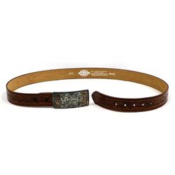 Native American Navajo Inlay Belt Buckle & Belt