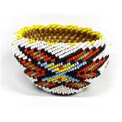 Native American Paiute Fully Beaded Basket
