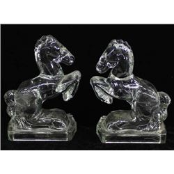 Pair of Vintage Heisey Glass Horse Bookends