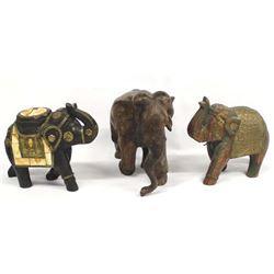3 Ethnic Carved Wood Elephants