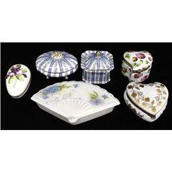 6 Collectible Porcelain Trinket Boxes