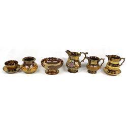 8 Pieces of Antique Copper Lusterware