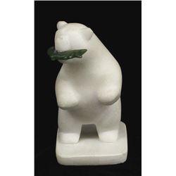 Chinese Marble Polar Bear w/Jade Fish