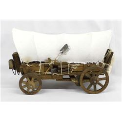 Miniature Covered Conestoga Wagon with Oxen Yoke
