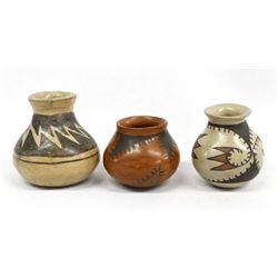 3 Vintage Mata Ortiz Miniature Pottery Jars