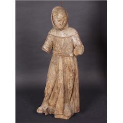 Mönch. Lindenholz, rückseitig gehöhlt. Vollplastisch geschnitzte Figur in Kutte gekleidet. Reste alt