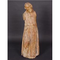 Hl. Rochus. Lindenholz, rückseitig gehöhlt. Vollrund geschnitzte Figur im langen Pilgermantel. Fassu