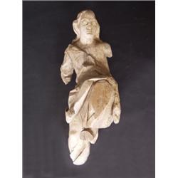 Engel. Lindenholz. Geschnitzte Figur in bewegter Haltung. Fehlstellen, teilweise sichtbare Wurmgänge