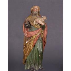 Hirte. Lindenholz. Vollplastisch geschnitzte Figur in weitem Umhang, auf dem Arm ein Lamm tragend. G