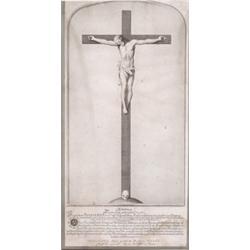 Rahmen. Schwarzgebeizter Profilrahmen. Kupferstich Kruzifix, hinter Glas. 19. Jh. H: 67 x 35 cm. (19