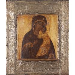 Ikone. Madonna mit Kind. Tempera auf Holztafel. Ornamentales Oklad. Russland, 18./19. Jh. H: 22,5 x
