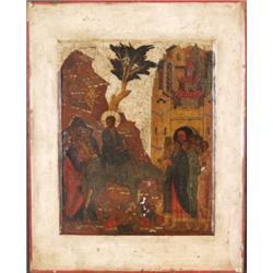 Ikone. Einzug in Jerusalem. Tempera auf Obstholztafel. Russland, 18./19. Jh. H: 31 x 24,5 cm. Minima
