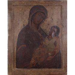 Wallfahrtstafel. Ikone. Mariendarstellung, rückseitig segnender Christus. Tempera auf Holz. Russland
