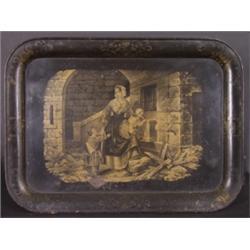Tablett. Schwarz lackiertes Blech, gold dekoriert. Im Spiegel lithographische Darstellung einer Mutt