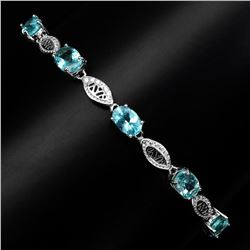 Natural 7x5mm Top Neon Blue Apatite Bracelet