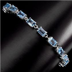 Natural 6x4mm Top Swiss Blue Topaz Bracelet